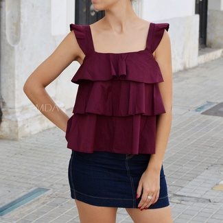 Blusa Volantes Color Granate